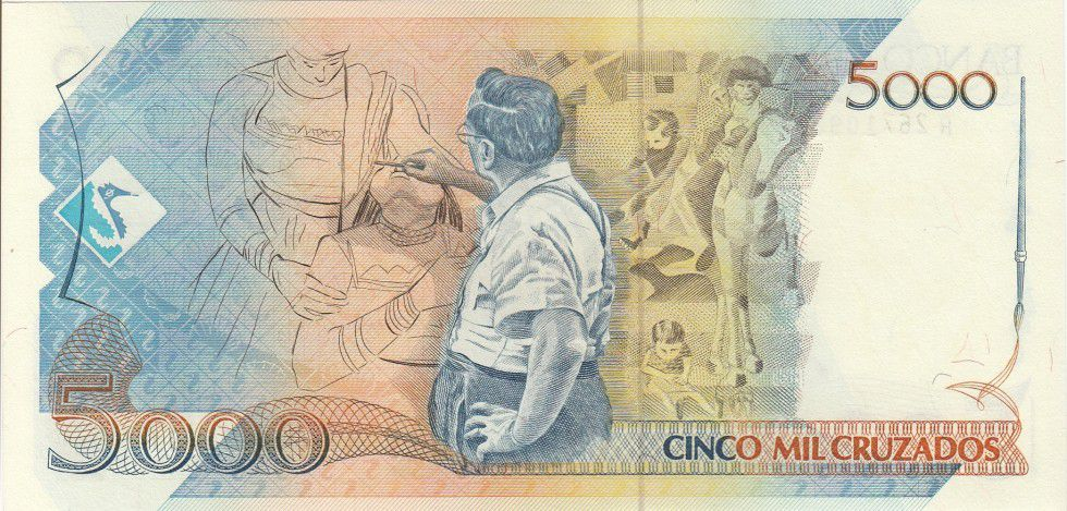 Brésil 5000 Cruzados Candido Portinari - Peinture - 1989 Série A 2671