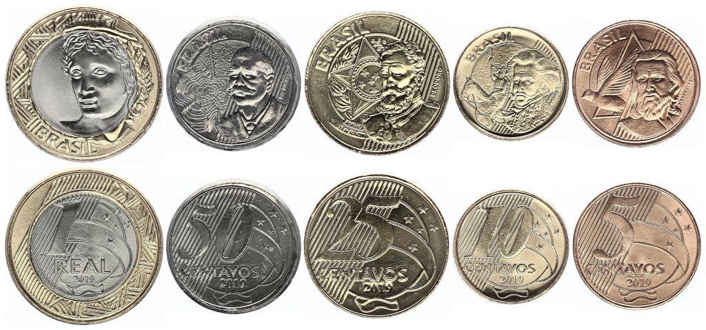 Brésil Série 5 monnaies 2019 - 5 à 50 Centavos et 1 Real Bimétal - SPL