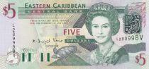 Britische Karibik 5 Dollars Elizabeth II - Amiral\'s house - Saint Vincent - 2003