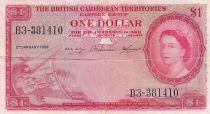 British Caribbean Territories 1 Dollar Elizabeth II - 1958 - Serial B.3 - P.7c