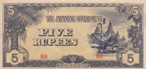 Burma 5 Kyats Ananda Temple - 1942