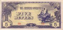 Burma 5 Rupees Ananda Temple - 1942