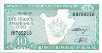 Burundi 10 Francs Carte du Burundi - 1997