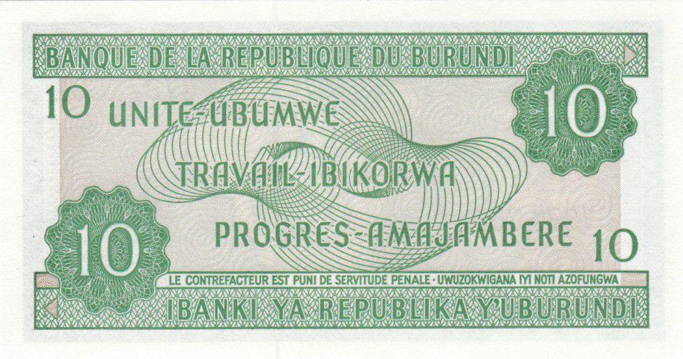 Burundi 10 Francs Carte du Burundi - 2005
