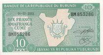 Burundi 10 Francs Carte du Burundi