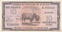 Burundi 10 Francs Cows  - 1965 -  XF - P. 9 - K 394309