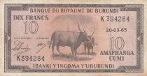 Burundi 10 Francs Cows  - 1965 - VF - P. 9 - K 394284