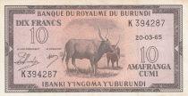 Burundi 10 Francs Cows  - 1965 - VF - P. 9 - K 394287