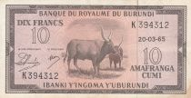Burundi 10 Francs Cows  - 1965 - VF - P. 9 - K 394312