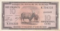 Burundi 10 Francs Cows  - 1965 - VF to XF - P. 9 - K 394309