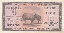 Burundi 10 Francs Cows  - 1965 - VF to XF - P. 9 - K 394309
