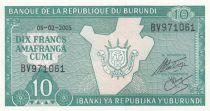 Burundi 10 Francs Map - 2005