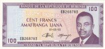 Burundi 100 Francs 1993 - Prince Rwagasore, Armoiries