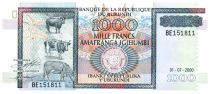 Burundi 1000 Francs Animals - Monument - 2000