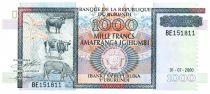 Burundi 1000 Francs Elevage - Monument - 2000