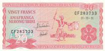 Burundi 20 Francs 1991 - Dancers, Coat of arms