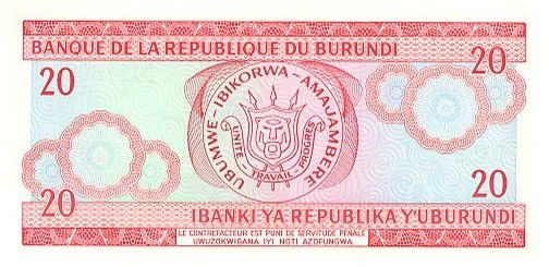 Burundi 20 Francs Warrior