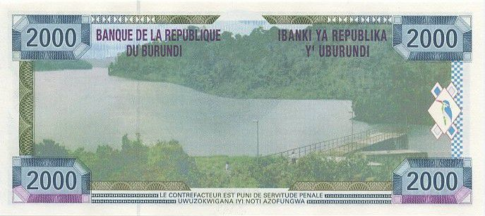 Burundi 2000 Francs Farmers, lake and dam
