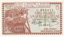 Burundi 5 Francs harvesting coffee - 1965 - UNC - P.8