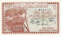 Burundi 5 Francs harvesting coffee - 1965 - UNC - P.8