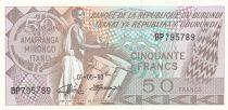 Burundi 50 Francs 1993 - Homme avec tambour, Armoiries