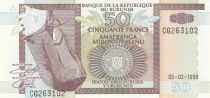 Burundi 50 Francs 1999 - Homme en pirogue, bateaux, lac
