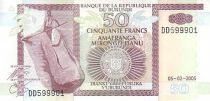 Burundi 50 Francs Homme, pirogue - Pêcheurs, Hippopotame