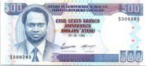 Burundi 500 Francs Portrait du Président - Banque Centrale - 1995