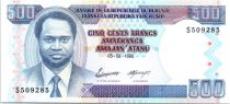 Burundi 500 Francs President facing - Central bank bldg - 1995