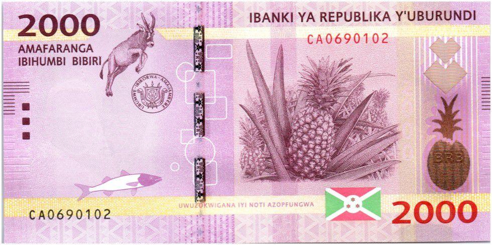 Burundi New2.2015 2000 Francs, Ananas et Antilope - 2015