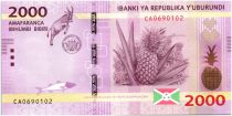 Burundi New2.2015 2000 Francs, Pineapple and Antelope - 2015