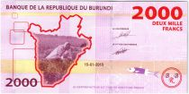 Burundi New2.2015 2000 Francs, Pineapple and Antelope - 2015