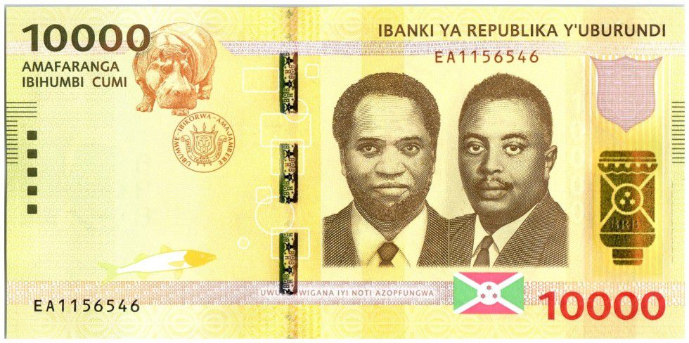 Burundi New4.2015 10000 Francs, Presidents - Hippo 2015