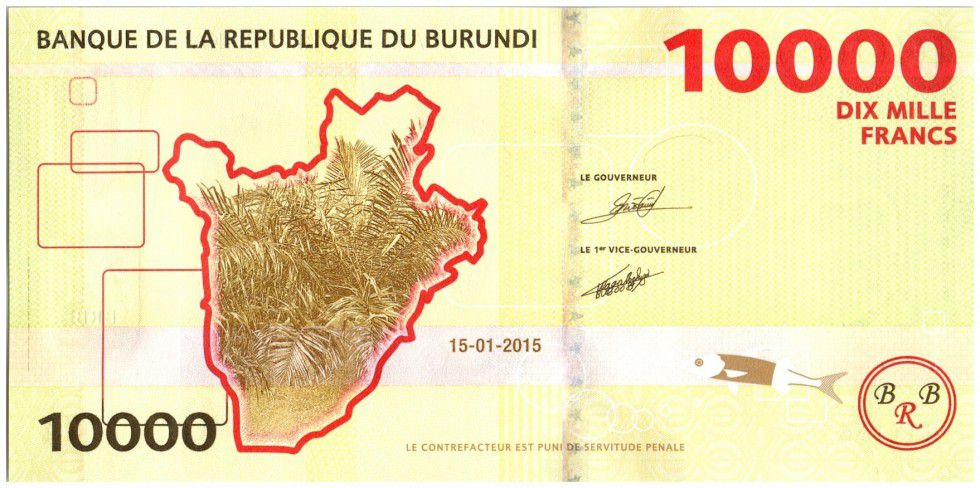 Burundi New4.2015 10000 Francs, Presidents - Hippopotame 2015