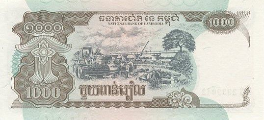 Cambodge 1000 Riels Temples - Site de construction