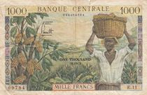 Cameroon 1000 Francs  Cacao - Coffee - 1962 - Serial E.11