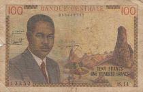 Cameroun 100 Francs ND1962 - Président Ahidjo, village, bateaux - Série B.14