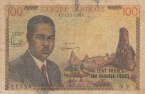 Cameroun 100 Francs ND1962 - Président Ahidjo, village, bateaux - Série N.9