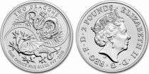 Canada 2 Pounds Elisabeth II - 1 Once Dragon Argent 2018