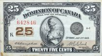 Canada 25 Cent Britannia - 1923 - Série K