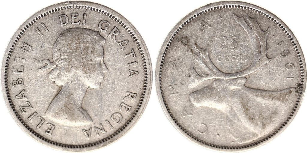 Canada 25 Cents 1961 - Elisabeth II - Argent