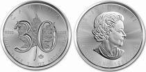 Canada 5 Dollars Elisabeth II - 1 Once 30 ans Maple Leaf Argent 2018