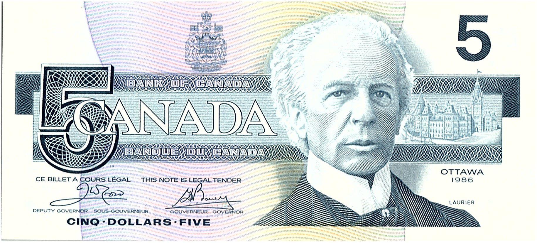 Canada 5 Dollars Sir Wilfried Laurier - 1986