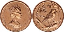 Cayman Islands 1 Cent Elizabeth II - Great Caiman Thrush  - 1996