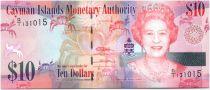 Cayman Islands 10 Dollars Elizabeth II and crabs - Flowers - 2010