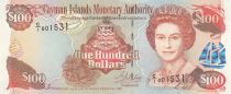 Cayman Islands 100 Dollars 1998 - Elizabeth II, harbor view - Serial C1
