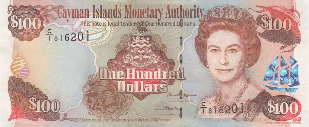 Cayman Islands 100 Dollars 2006 - Elizabeth II, harbor view - Serial C1