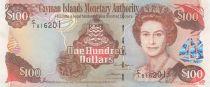 Cayman Islands 100 Dollars 2006 - Elizabeth II, harbor view - Serial C1