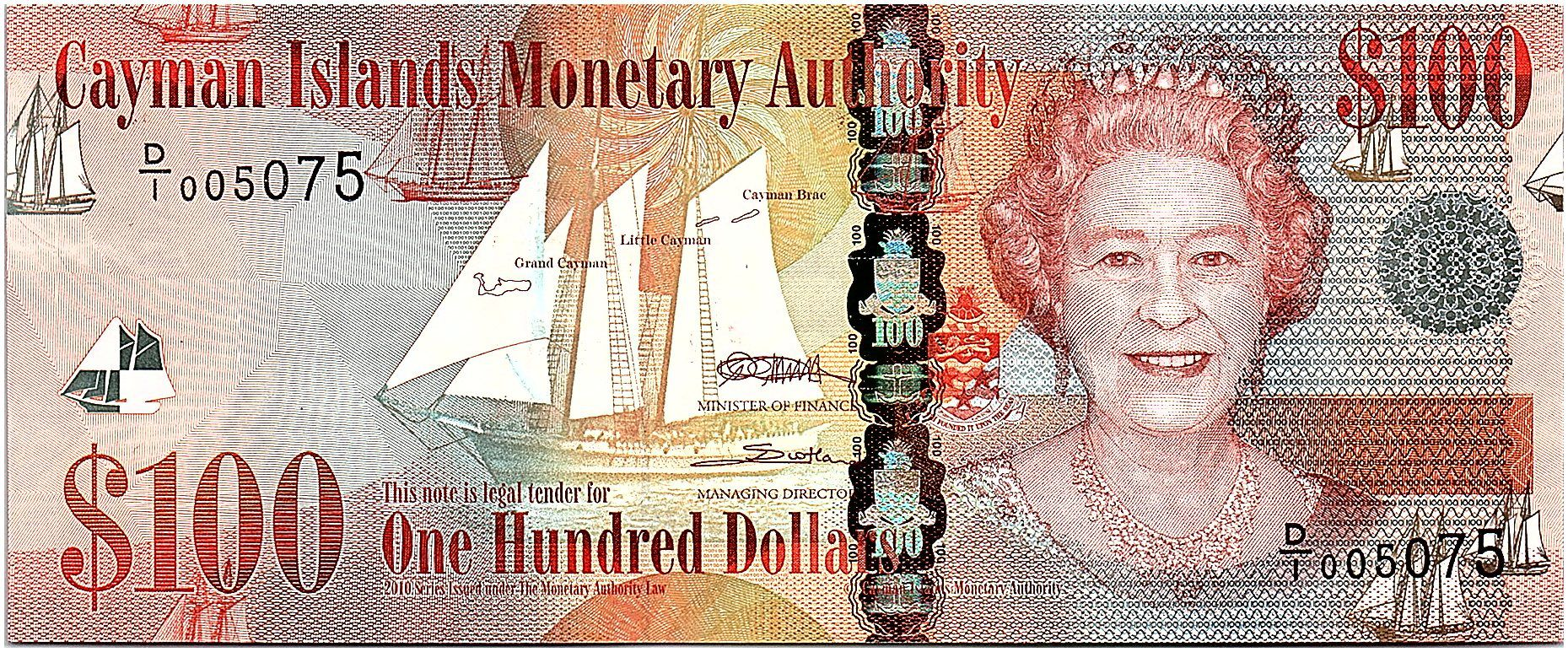 Cayman Islands 100 Dollars 2010 - Elizabeth II - UNC - P.43a