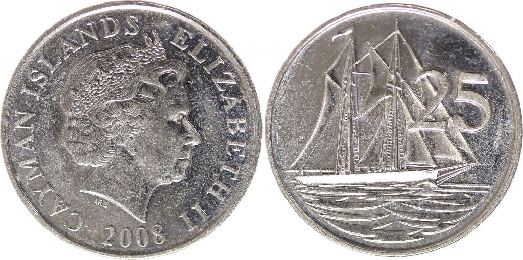 Cayman Islands 25 Cents Elizabeth II - Boat sailing - 1992 to 2008